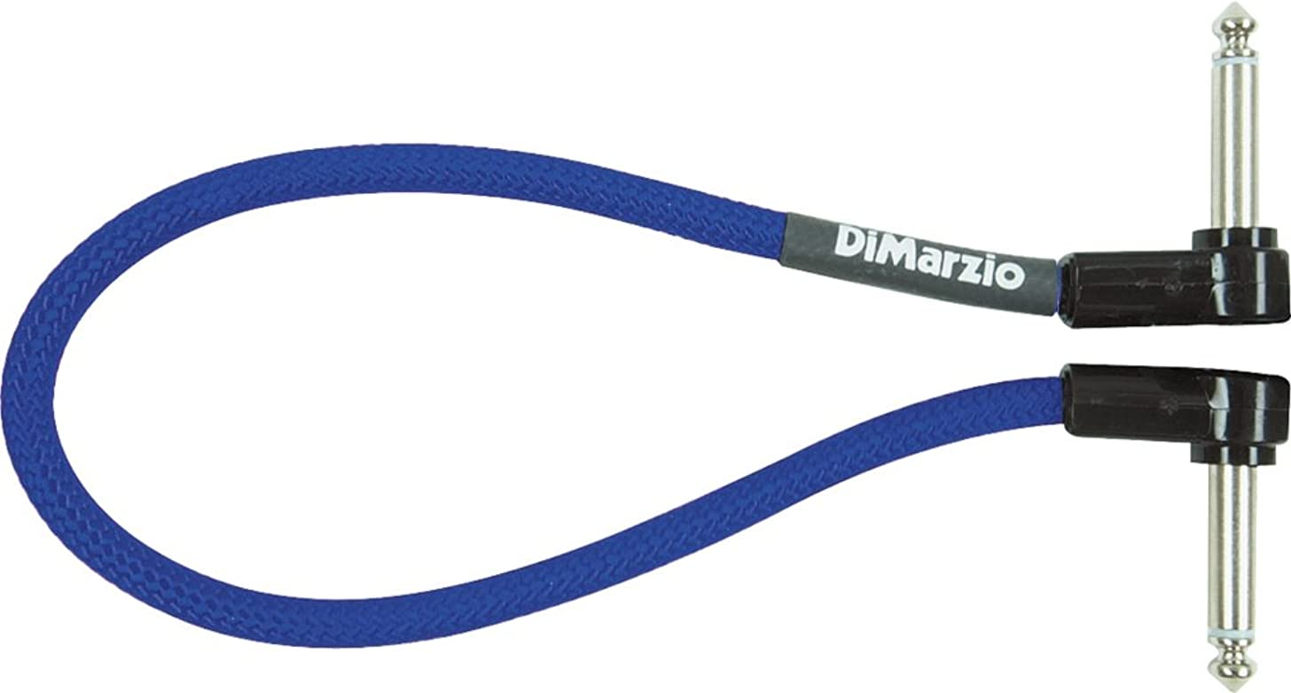 DiMarzio Long Jumper Cable Pedal Coupler with Angled End Blue 18 In