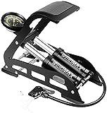 WEIDMAX Pompa per bicicletta a doppio cilindro , pompa ad aria per pavimento della bicicletta, pompa per pneumatici portatile, con manometro e valvola intelligente