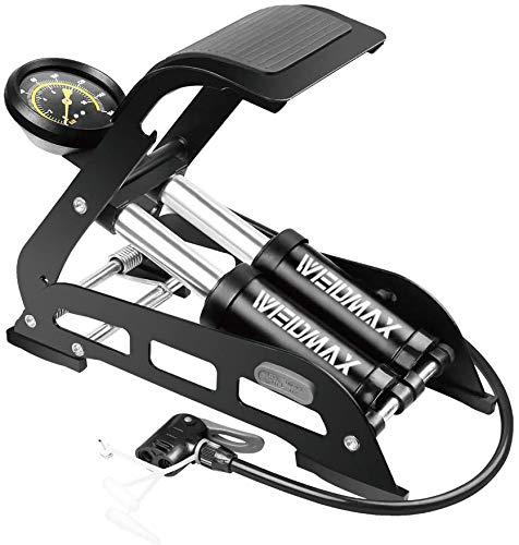 WEIDMAX Bomba de pie de Doble Barril, Bomba de Bicicleta de Doble Cilindro, Bomba de Piso de Bicicleta, Bomba de neumático de Bicicleta portátil con manómetro y Cabezal de válvula Inteligente