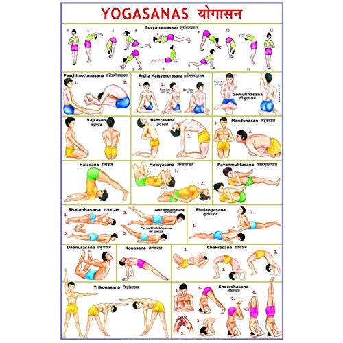 TanjunArt Póster de Ejercicio de Pose de Yoga Tabla de Principiantes instructiva Premium para secuencias de Flujo Nombres en sánscrito en inglés -60x90cm sin Marco