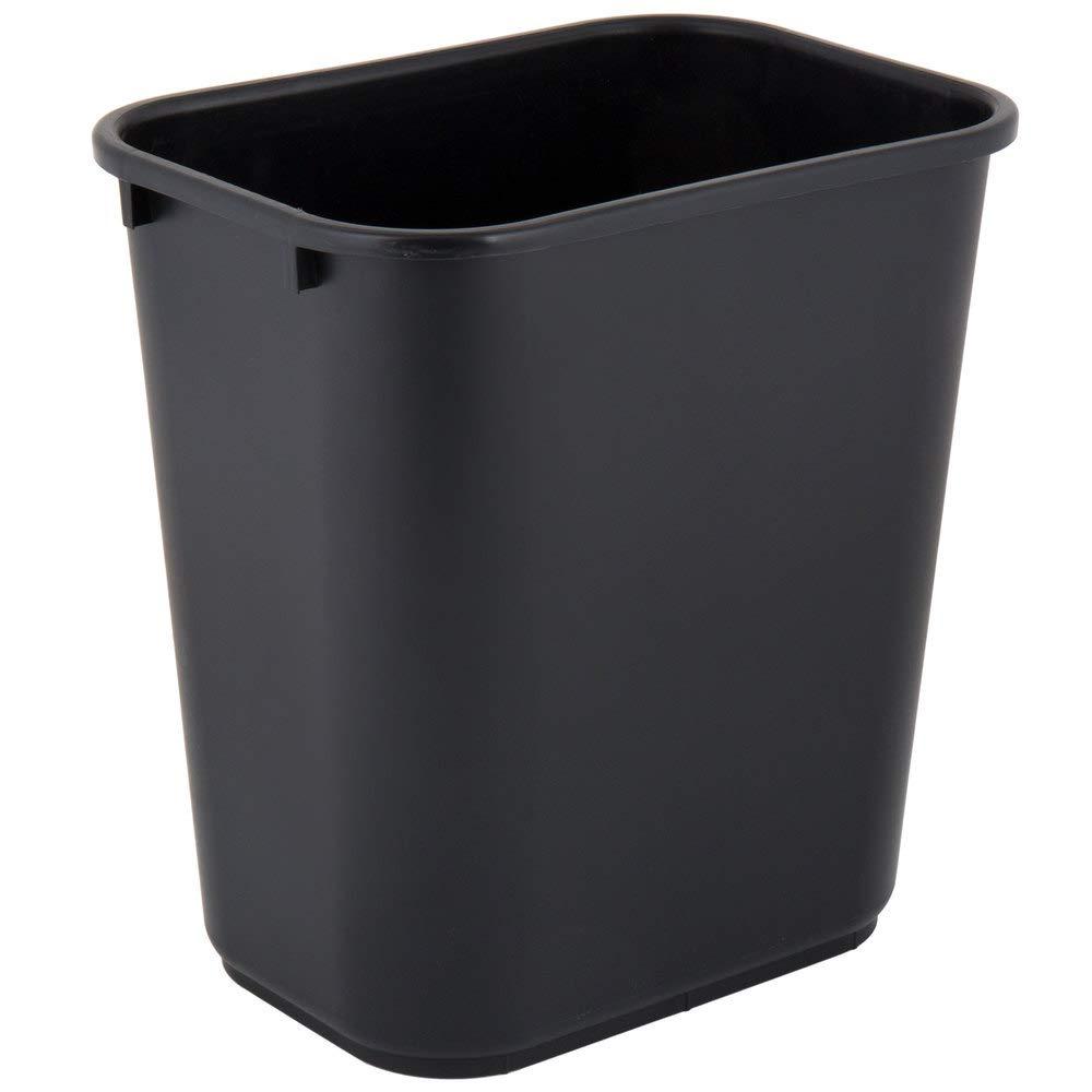 Detroit Mall 28 Qt. Large discharge sale 7 Gallon 26 Rectangular Was Liters Black Wastebasket.