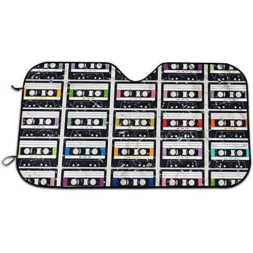 GWrix Auto Voorraam Zonneschaduw, Zon En Warmte Reflector, Warmteschild schaduw, Cassette Tapes Houdt Voertuig Koel, Universele Auto Voorruit Zonnescherm M(140X76CM) 738