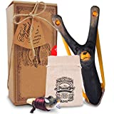 AGREATLIFE Wooden Bear Slingshot and Whistle for Kids - with a High Resistance Band, Hunting Slingshot for Catapult Game, Hunting Accessories Kids Would Love to Have