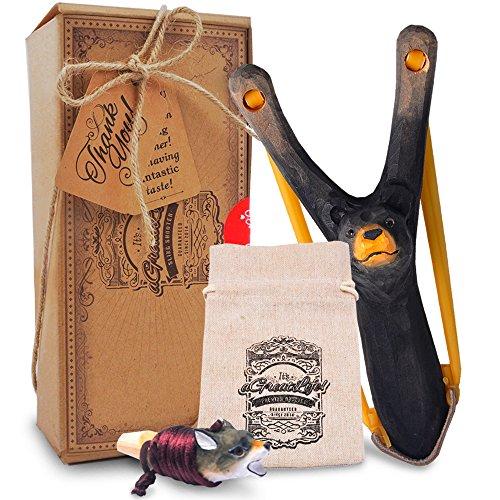 AGREATLIFE Steinschleuder Kinder aus Holz mit Entdecker-Pfeife Plus Munitions-Tasche- Extra Elastisches Gummi - Zwille/Katapult für Kinder - Outdoor Spielzeug für kleine Entdecker