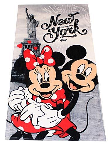 Disney Minnie Maus And Mickey Maus Telo Mare, Diversi Disegni 70x140 cm 100% Cotone, per Bambini (New York)