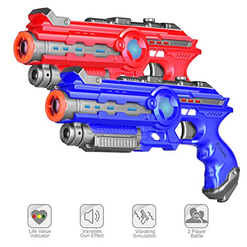 AINEK Infrared Tag Blasters - 4 Gun Setting Tag for Kids & Adults - Outdoor & Indoor Laser Tag Game 2 Packed Birthday Gift - Infrared 0.9Mw