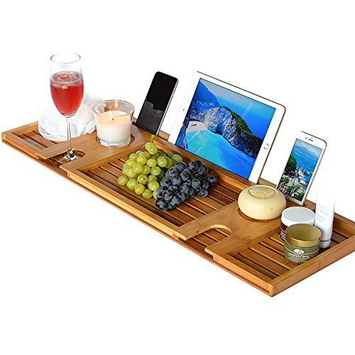 ZHANG Badkuip, Bamboe Bad Tub Rack, Houdt Boek Wijn Glas Handdoek ipad Telefoon Voedsel Tablet Zeep voor Badkamer Spa