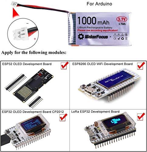 MakerHawk 3,7 V Lithium Akku 3,7 V 1000 mAh Lipo batterien mit Micro JST 1,25-Stecker für Arduino Nodemcu ESP32-Entwicklungsplatine (4 Pack) - 4