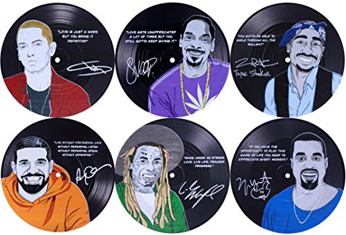 OUR CASA Drink Coasters Set - 6 Pieces Vinyl Record Coasters for Drinks, Set for Music Lovers- Reusable, Heat Resistant, and Prevents Furniture Damage- Novelty Housewarming Gift Hip Hop Set