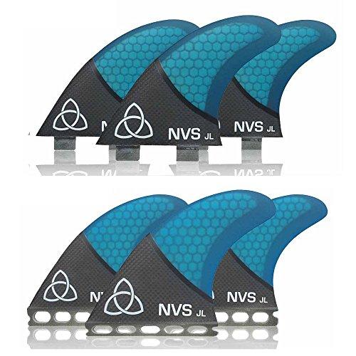 Naked Viking Surf JL Thruster - Aletas para tabla de surf (tamaño mediano, 3 unidades), color azul