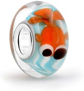 Nautical Blue Fish Bowl Murano Glass 925 Sterling Silver Spacer Bead Fits European Charm Bracelet For Women For Teen
