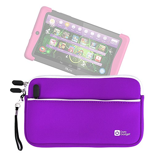 DURAGADGET Purple Water Resistant Cover w/Front Storage & Twin Zip - Compatible with Kurio Xtreme 2 Tablet