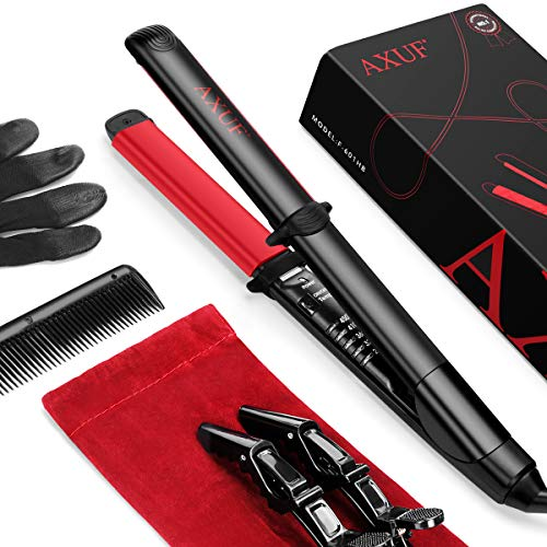 AXUF Hair Straightener, 2 in 1 Straightens & Curls with Adjustable Temp, Auto-Off Flat Iron, 1 Inch Dual Voltage