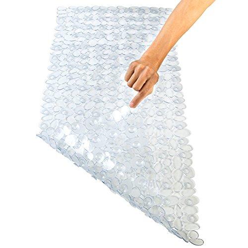 Tappetino anti scivolo Pinzz in vinile antibatterico motivo a ciottoli, per doccia e vasca, potente ventosa anti scivolo, lavabile in lavatrice, Clear, 88x40CM