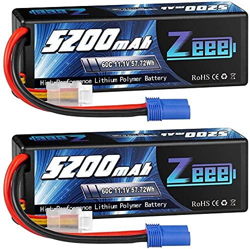 Zeee 3S LiPo Batería 11.1 V 60C 5200 mAh Estuche rígido Batería con Enchufe EC5 para Coche RC, Avión RC, Helicóptero RC, Hobby RC (2 Paquetes)