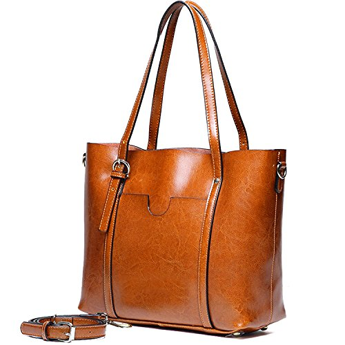 YALUXE Handtasche Damen Echtleder Shopper Style Vintage weiche Arbeit Tote Schultertasche Braun