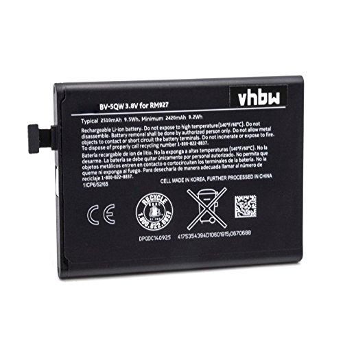vhbw Li-Ion Akku 2510mAh (3.8V) passend für Handy Smartphone Telefon Nokia/Microsoft Lumia 929, 930, RM927