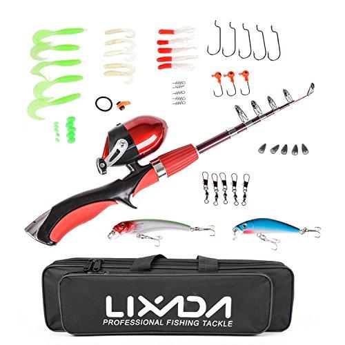 Lixada Fishing Rod Reel Combos 1.4m Portable Mini Telescopic Fishing Pole & Closed Reel Set Full Fishing Kit