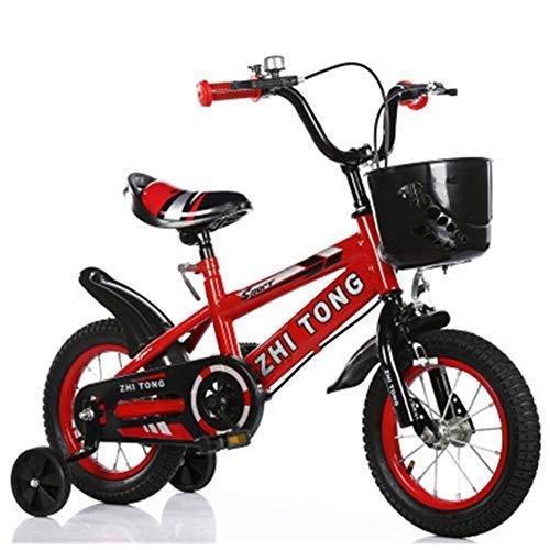 Baby Bicicletta per Bambini Ragazza Ragazzo 2-7 Anni Freestyle BMX 12 1416 18 Pollici Bicicletta Bambini con Le Ruote Bici per Bambini Nessun Sedile Posteriore,Rosso,16INCH