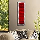 Statements2000 Vivacious Red & Silver Jewel Tone Modern Accent with Abstract Wave Etchings - Metal Wall Art - Contemporary Home Decor, Metallic Wall Accent - Inner Fire 2 by Jon Allen