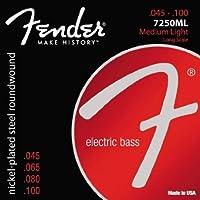 【 並行輸入品 】 Fender (フェンダー) 7250ML Nickel Plated Steel Roundwound Long Scale エレクトリックベースギター 弦 - Medium Light