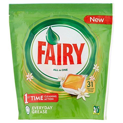 Fairy Todo en 1 Cápsulas de Lavavajillas Naranja - 5 Paquetes con 31 Cápsulas