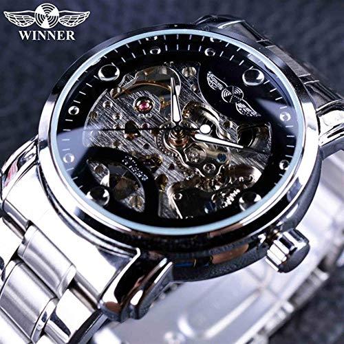 SJXIN Hochwertige GEWINNER Mechanische Uhr, Winner Herren automatische mechanische Uhr Hohluhr Stahlgürtel Uhr (Color : 1)