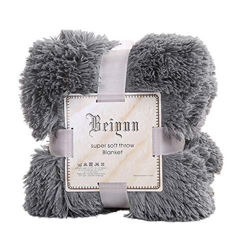 display0 80 x 120 cm weich flauschig zottelig warm Home Room Bett Sofa Tagesdecke Bettüberwurf Decke Quilt rauchgrau