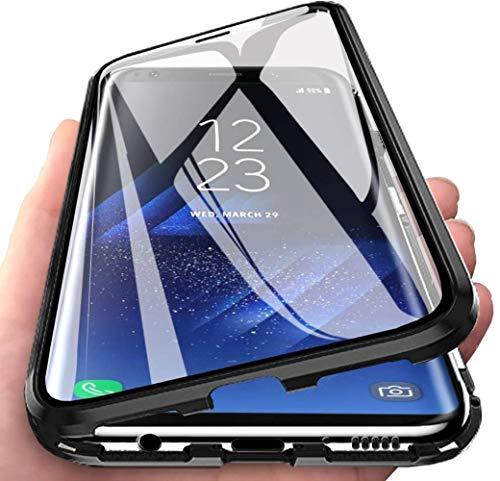 MOSSTAR Funda Samsung Galaxy A20e, 360 Grados Carcasa Completa, Adsorción magnética Carcasa, Marco de Metal, con Protector de Pantalla Incorporado,Cristal Templado Transparente Cover Case,Negro