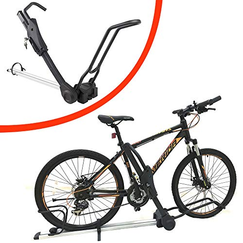 Portabicicletas universal montado en el techo, portabicicletas de aleación de aluminio con cerradura, portabicicletas para el techo del automóvil para transportar bicicletas, con accesorios,Black
