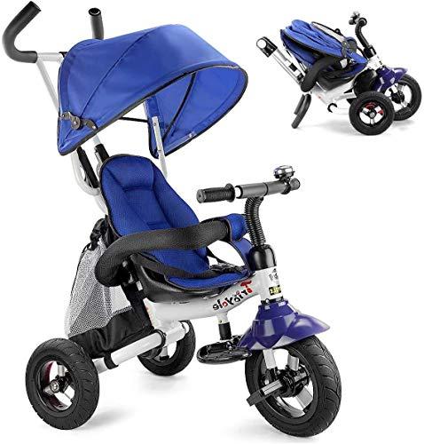 6 in 1 Baby driewieler, fiets driewieler kind opvouwbare wandelwagen verstelbaar dak, neerklapbare pedalen, een opbergtas, remmen 12 maanden - 5 jaar (blauw),blauw