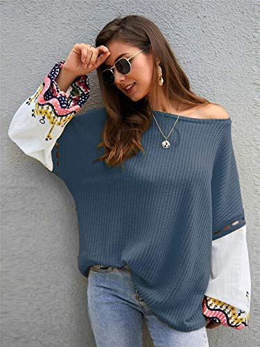 CHENGYYDP suéter Contraste del Bordado De La Manga del Suéter De Gran Tamaño (Color : Navy, Size : X-Large)