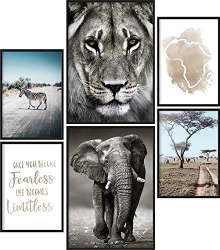Papierschmiede® Premium Poster Set Afrika | 6 Bilder als stilvolle Wanddeko | 2X DIN A4 und 4X DIN A5 | Safari Löwe Elefant Tiere Savanne