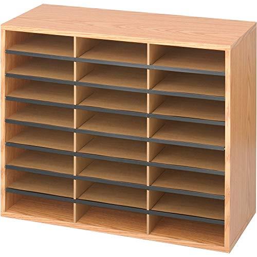Safco Products Wood/Corrugated Literature Organizer, 24 Compartment, 9402MO, Medium Oak, Economical Organization, Letter-Size Compartments