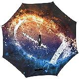 mengmeng Vintage Galaxy Space Stars Amerikanischer Basketball Reverse Inverted Umbrellas Reversible Sun Rain Umbrella