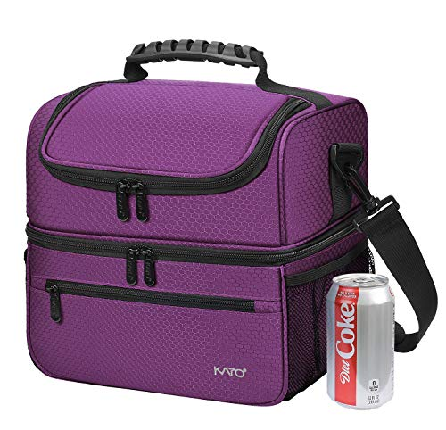 Extra Large Lunch Bag - 13L/ 22 Can, Insulated & Leakproof Adult Reusable Meal Prep Bento Box Cooler Tote for Men & Women with Dual Compartment, Purple