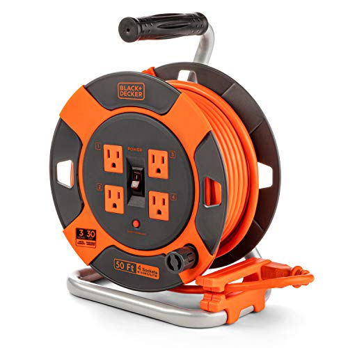 Black + Decker Retractable Extension Cord, 50 ft, 4 Outlets - 14AWG SJTW Cable - Heavy-Duty Outdoor Power Cord Reel w/ Multi-Plug Extension, Easy Handle Rewind - Premium Cord Retractor for Garden