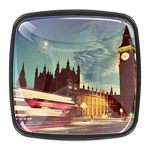 Paquete de 4 tiradores de cajón y pomos para cajones con tornillos de cristal para cajón, gabinete, tirador de armario, accesorios para armario de Londres, The Big Ben Clock Night Scenery 35 mm