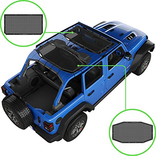 Alien Sunshade Jeep Wrangler JLU (2018-2021) – Front & Rear Mesh Sun Shade for Jeep JL Unlimited - Blocks UV, Wind, Noise - Bikini JLkini Top Cover for Sport, Sport S, Sahara, Rubicon (Black)