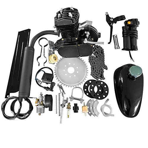 MOTOOS 50cc 2-Stroke Motor Engine Kit Black Compatible with Motorized Bicycle Bike Petrol Gas Engine