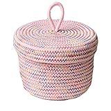 Cesta de almacenamiento de cuerda de algodón redonda de alta calidad, plegable con funda, perfecta para juguetes, lavandería, cosméticos, organizador de aperitivos, color rosa, 18 cm x 12 cm