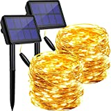 Solar String Lights Outdoor Waterproof, 2 Pack Each 72FT 200 Leds Solar powered Fairy Lights, Decoration Copper Wire Lights with 8 Modes for Patio Yard Trees Christmas Wedding Party Decor (Warm White)