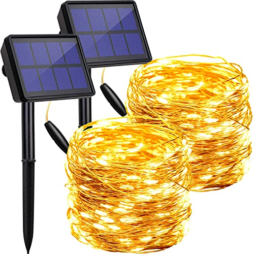 Solar-Lichterkette für den Außenbereich, wasserdicht, 2 Stück je 200 LEDs, solarbetriebene Lichterkette, Dekoration aus Kupferdraht mit 8 Modi, für Terrasse, Hof, Bäume, Weihnachten, Hochzeit, Party, Dekoration (warmweiß)