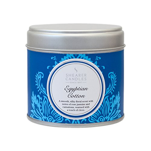 Shearer Candles Egyptian Cotton Large Scented Silver Tin Candle – White