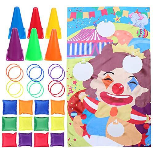 LIOOBO 31Pcs Carnaval Juegos Al Aire Libre Conjunto Combinado Clown Hole Flag Colorido Cono Anillo Kit de Bolsa de Frijoles Familia Interior Juegos de Entrenamiento de Patio Trasero Al