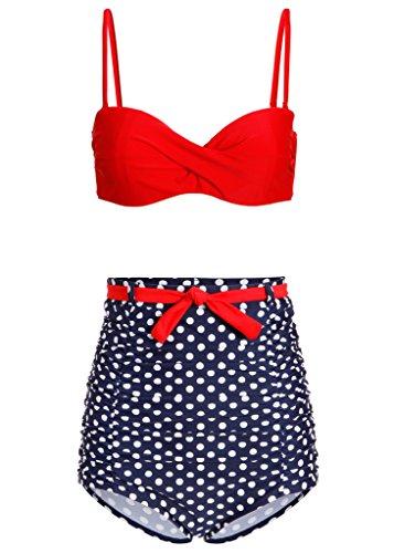 Pretty Attitude Pünktchen Polka Dot Retro Pin Up Vintage Damen Bikini mit hoher Taille (2-TLG. Set) – Gr. S