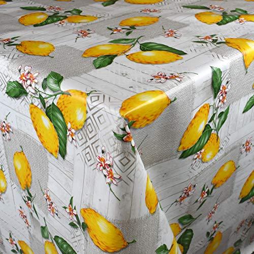 KEVKUS Mantel de hule de 160 cm de ancho PC109-2 limones sobre madera jardín verano a elegir en rectangular redondo ovalado (borde con banda de plástico), 110 x 260 cm, rectangular, mesa alargada XXL)