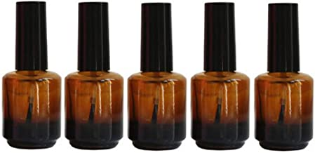 5Pcs 15ml/0.5oz Empty Amber Glass Nail Polish Bottle Refillable Perfume Sample Bottle Container Vial Jar Pot with Black Brush Cap for Nail Art and DIY Aromatherapy