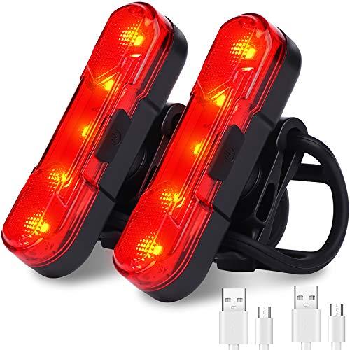 HASAGEI Luz trasera para bicicleta (2 unidades), recargable por USB, impermeable, con 4 opciones de modo de luz para ciclismo de seguridad