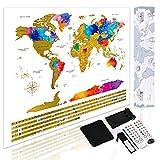 Weltkarte zum Rubbeln - 59.4 X 42 cm Kratzbares Weltkarte-Plakat mit allen Landesflaggen u. Zusatz-Ausrüstungen, Perfektes Geschenk für Reisende